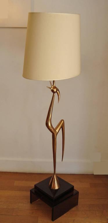 Rare Gilt Polished Bronze Cock Floor Lamp Circa 1970 By
