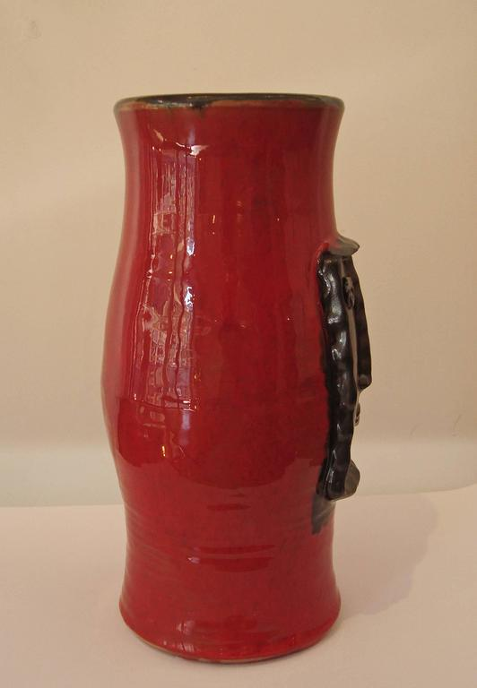 Red Vase With Black Relied Head By Cloutier Brothers For Sale At