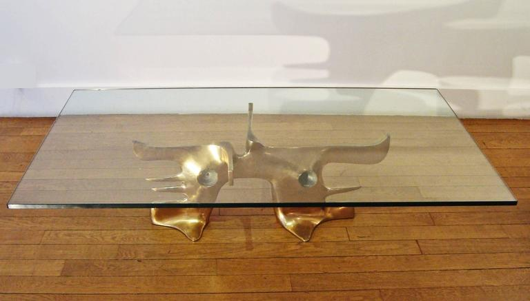 Gilt Bronze Coffee Table, 1973 by Victor Roman 2