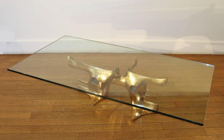 Gilt Bronze Coffee Table, 1973 by Victor Roman 3