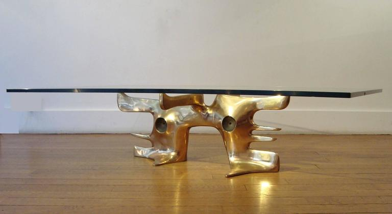 Gilt Bronze Coffee Table, 1973 by Victor Roman 4