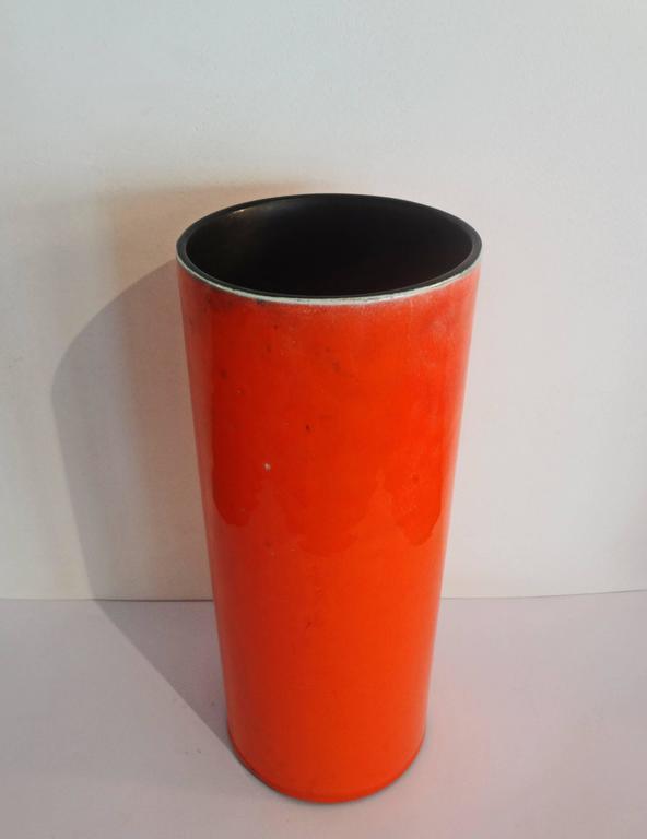 Mid-Century Modern High Orange Cylinder Vase by Georges Jouve, circa 1956 For Sale