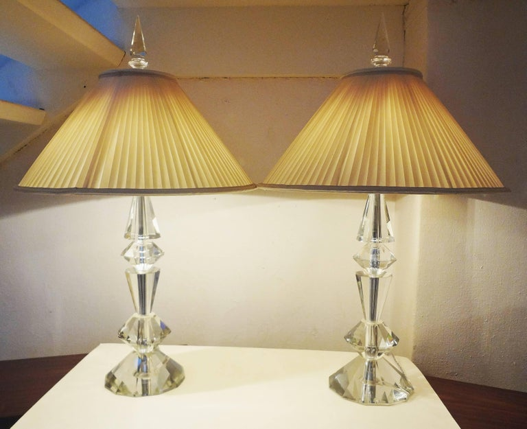 Spectacular Pair of Glass Table Lamps, France, 1970s In Good Condition For Sale In Paris, FR