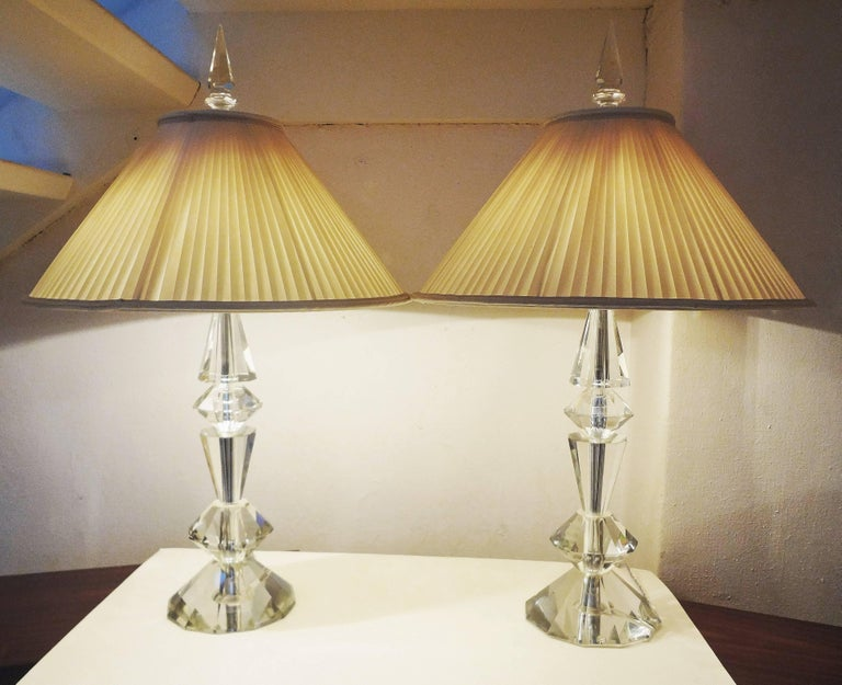 Mid-20th Century Spectacular Pair of Glass Table Lamps, France, 1970s For Sale