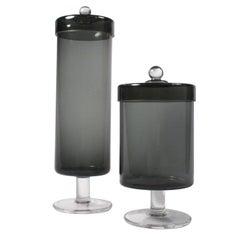 Smoky Grey Glass Apothecary Jars