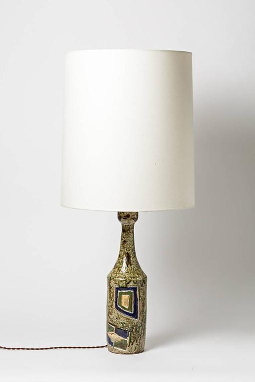 Abstract Stoneware Lamp by Mallet La Borne, 1970 In Excellent Condition For Sale In Neuilly-en- sancerre, FR
