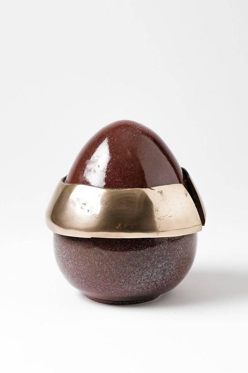 Elegant Egg Form by Tim Orr, Porcelain and Bronze, circa 1970 For Sale 1