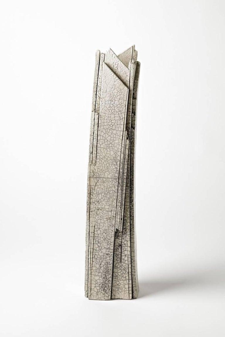 Important ceramic sculpture by Veronique Grandjacques,  circa 1980.  Beautiful white ceramic glaze.  Abstract sculpture or vase.
