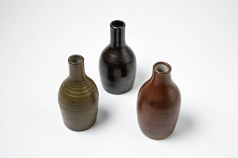 Beautiful Set of Three Bottles or Vases by Norbert Pierlot French Ceramic, 1950 For Sale 1