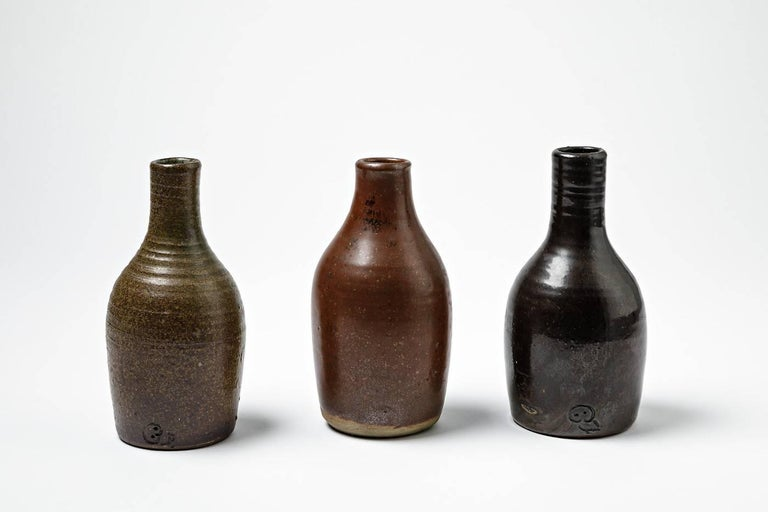 Beautiful Set of Three Bottles or Vases by Norbert Pierlot French Ceramic, 1950 In Excellent Condition For Sale In Neuilly-en- sancerre, FR