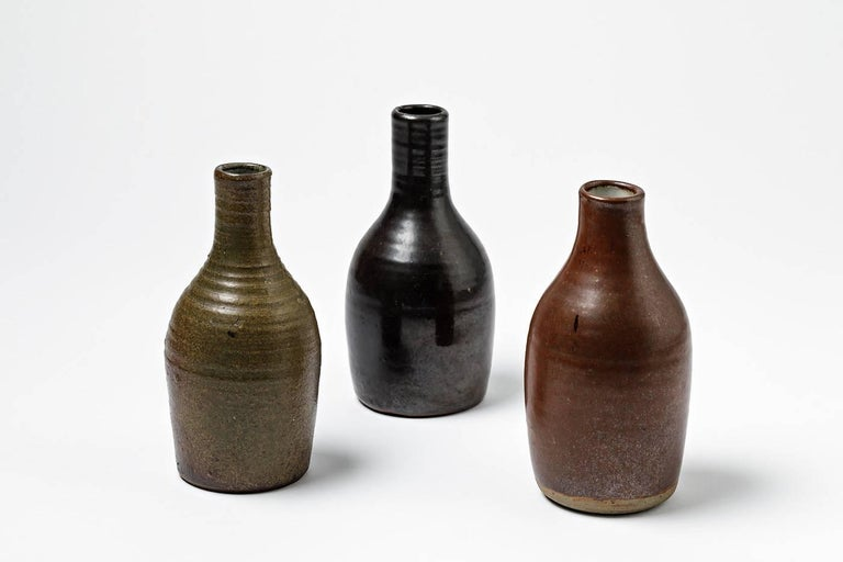 Mid-20th Century Beautiful Set of Three Bottles or Vases by Norbert Pierlot French Ceramic, 1950 For Sale
