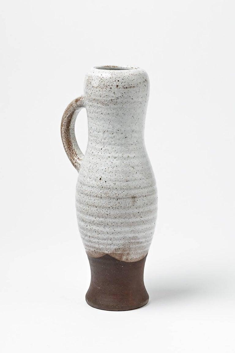 Elegant White Ceramic Pitcher By Pol Chambost Stoneware