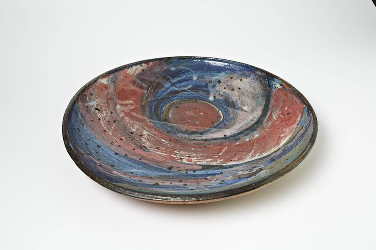 Beaux Arts Important Ceramic Plate by Alain Gaudebert, circa 1980-1990 For Sale
