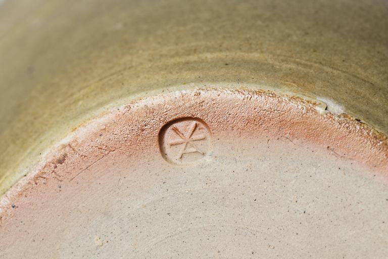 Turned green ceramic Stoneware Pot by Antoine de Vinck, circa 1980 For Sale
