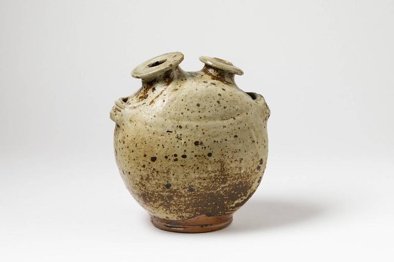 Beaux Arts Stoneware Vase Sculpture by Pierre Digan, La Borne, 1970 For Sale