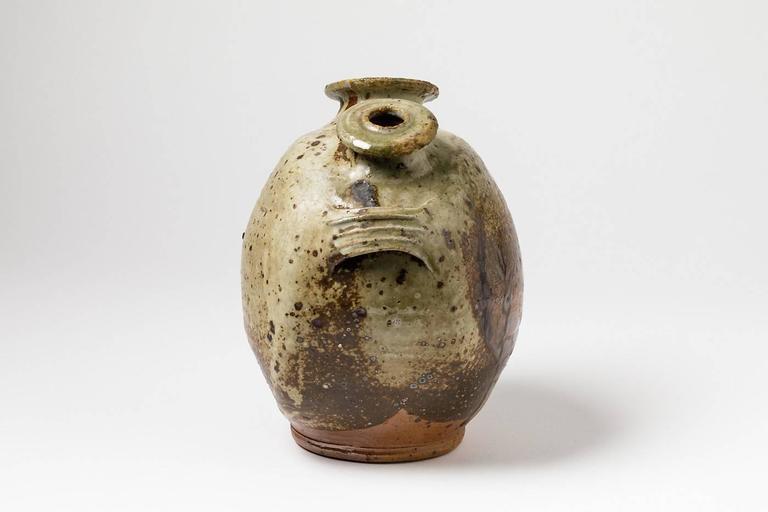 20th Century Stoneware Vase Sculpture by Pierre Digan, La Borne, 1970 For Sale