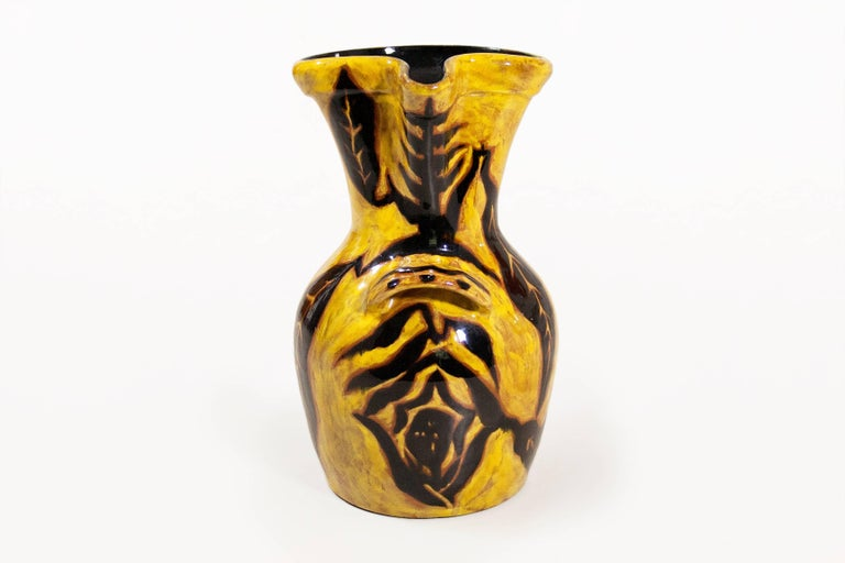 Very Large Yellow Vase By Jean Lurat For Sant Vincens Circa 1950