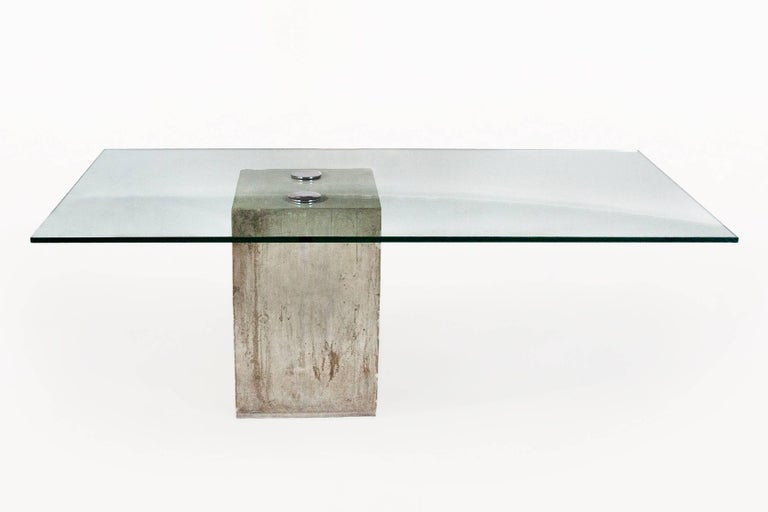 Gl And Concrete Dining Table By Sergio Giorgio Saporiti Cast Base