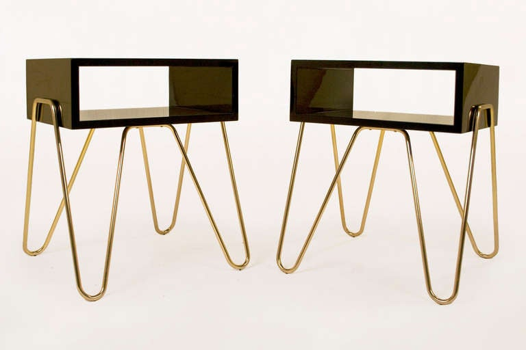 Pair of bedside tables by Adolfo Abejon Black lacquered wooden structure with brass legs Open drawer circa 2000s, Spain Excellent condition.