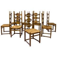 Set of Eight Jordi Vilanova Dining Chairs, circa 1950, Spain