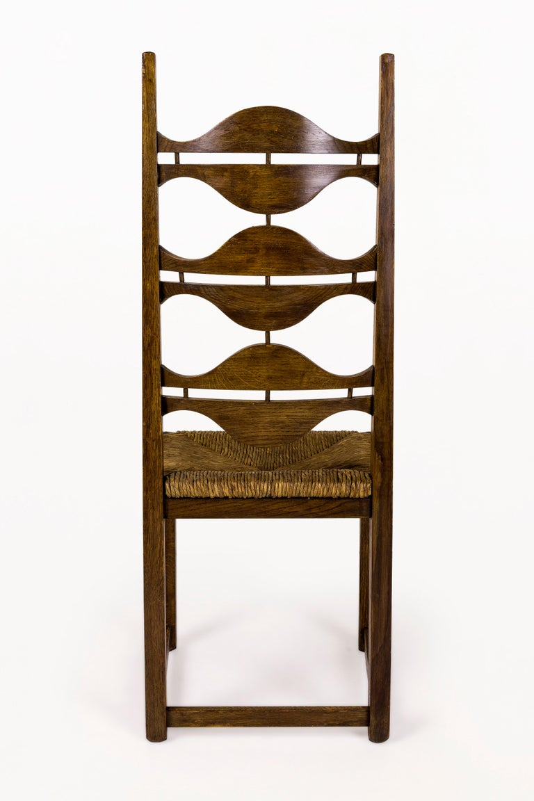 Woven Set of Eight Jordi Vilanova Dining Chairs, circa 1950, Spain For Sale
