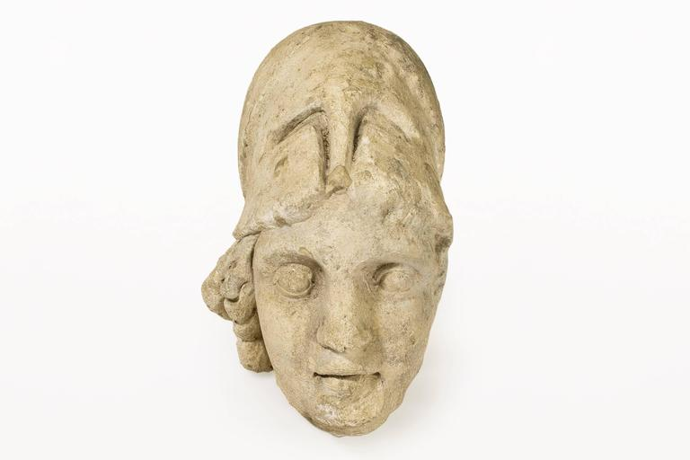 Roman antiquities stone bust sculpture of Minerva with Helment