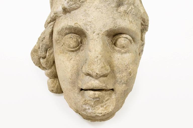Greco Roman Roman Antiquities Stone Sculpture of Minerva with Helmet, 2nd Century AD, France For Sale