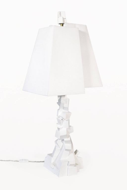 Pair of Jean-Jacques Darbaud Plaster Brutalist Table Lamps, France, circa 2015 2