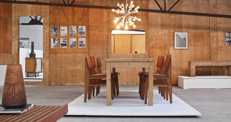 Pine Dining Table by Guy Rey-Millet & Jean Prouvé, circa 1970, France For Sale 1