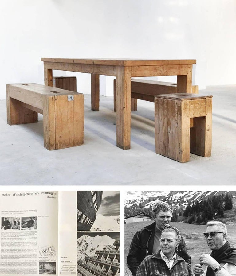 Pine Dining Table by Guy Rey-Millet & Jean Prouvé, circa 1970, France For Sale 2