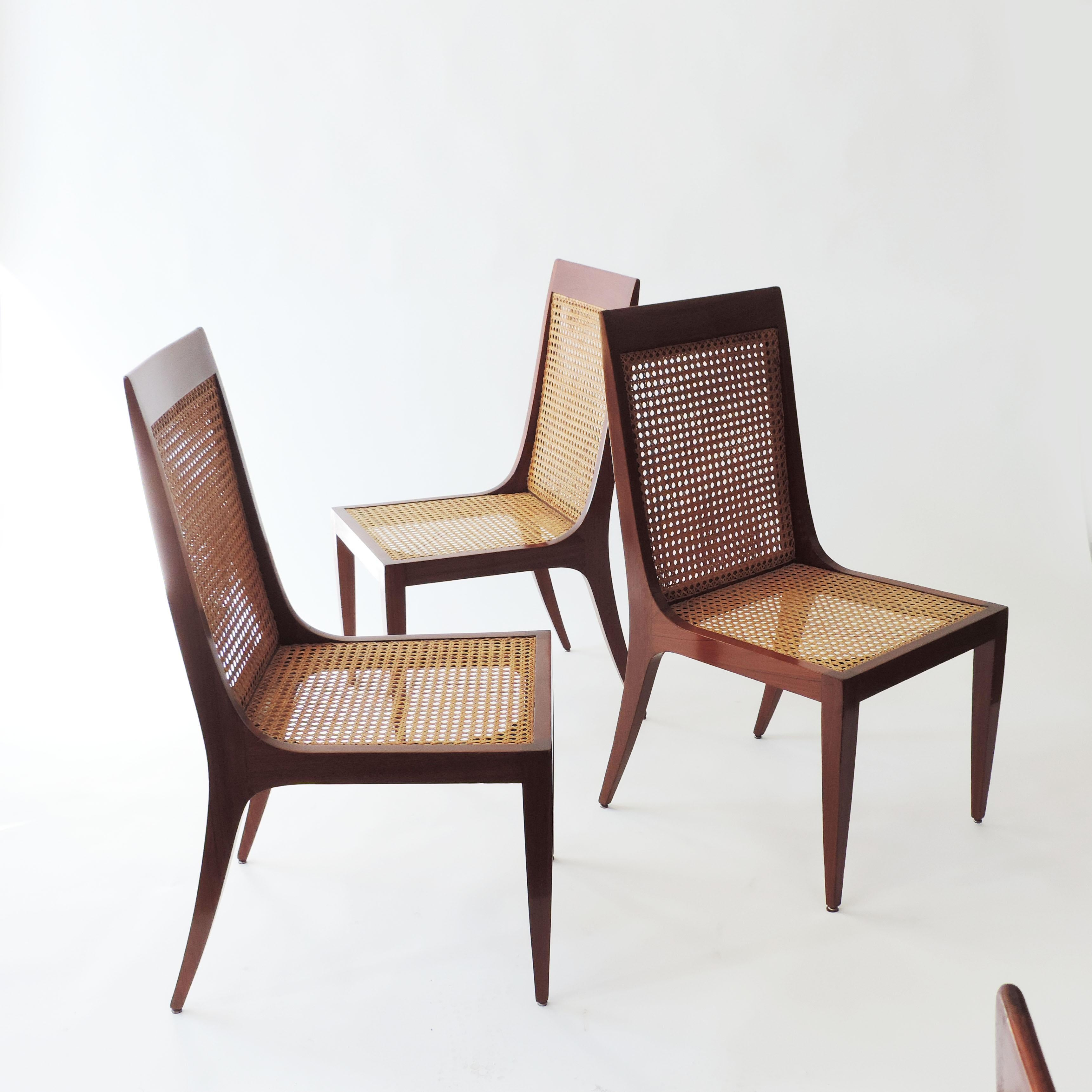 Arch. Paolo Buffa Set Of Six Dining Chairs. Wood And Original Double Sided