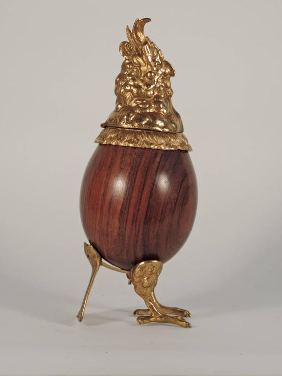 Gabriella Crespi Wood and Brass Parrot Box, Italy 1970s In Good Condition For Sale In Milan, IT