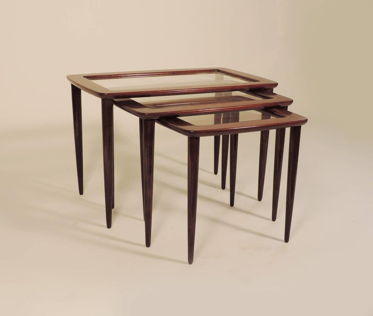 Glass Ico Parisi Nesting Tables for De Baggis For Sale