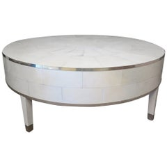 1940 Art Deco Round Parchment and Brass French Sofa Table, 1940