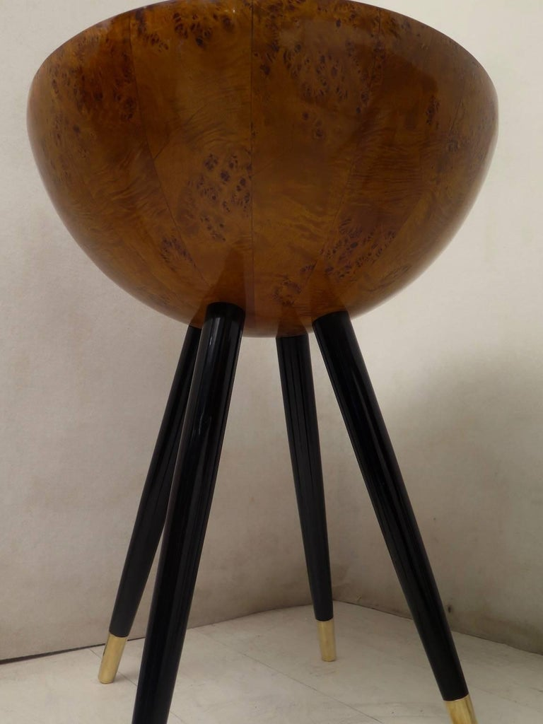 Pair of Art Deco Round Black Wood and Brass Italian Side Table, 1930 For Sale 1