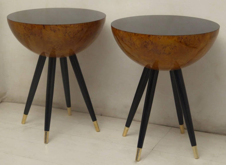 Pair of Art Deco Round Black Wood and Brass Italian Side Table, 1930 For Sale 3