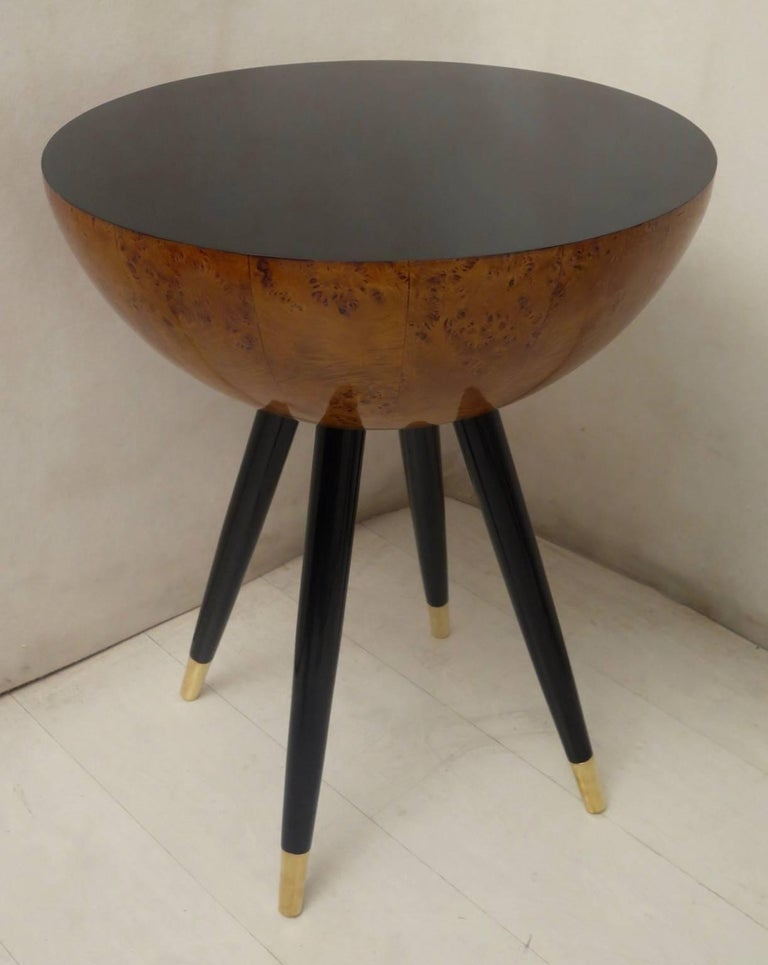 Pair of Art Deco Round Black Wood and Brass Italian Side Table, 1930 For Sale 4