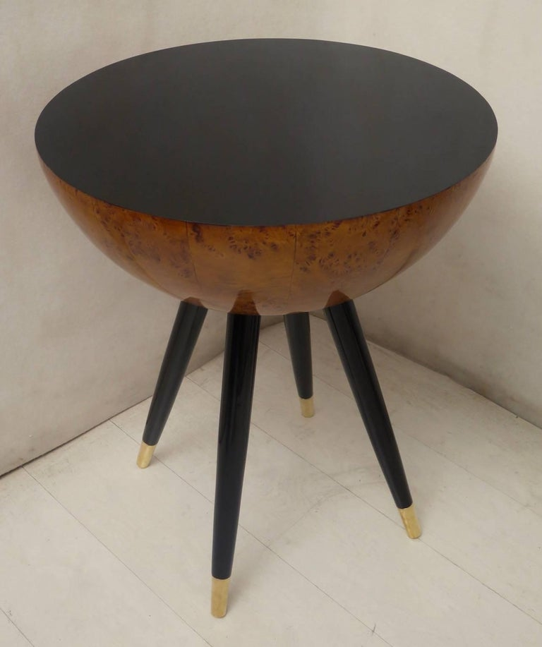 Pair of Art Deco Round Black Wood and Brass Italian Side Table, 1930 For Sale 6