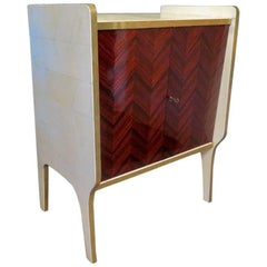 Midcentury Walnut Wood Parchment and Brass Italian Commode, 1950