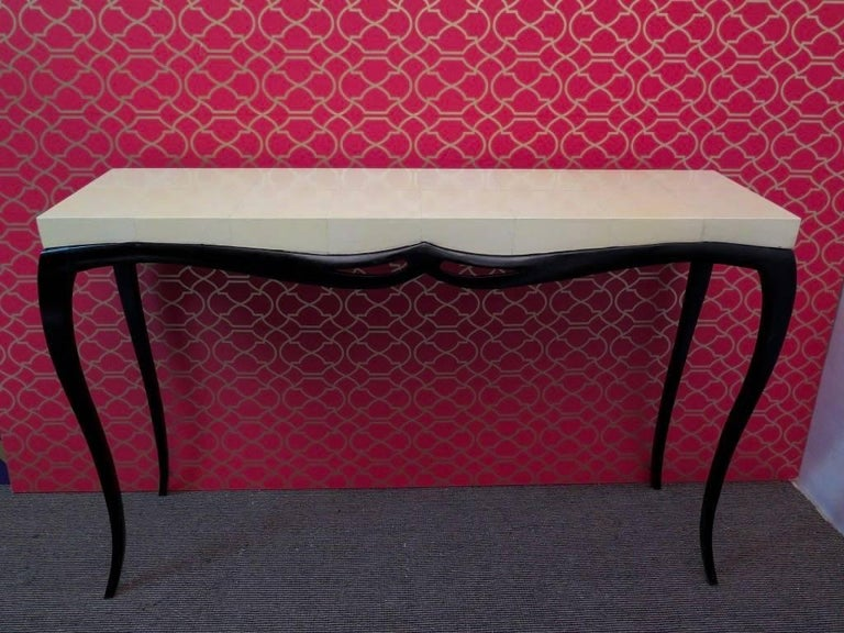 Parchment Paper Pair of Art Deco Rectangular Wood and Goat Skin French Console Tables, 1920 For Sale