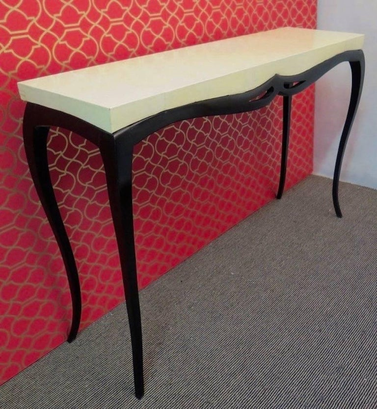Pair of Art Deco Rectangular Wood and Goat Skin French Console Tables, 1920 For Sale 4