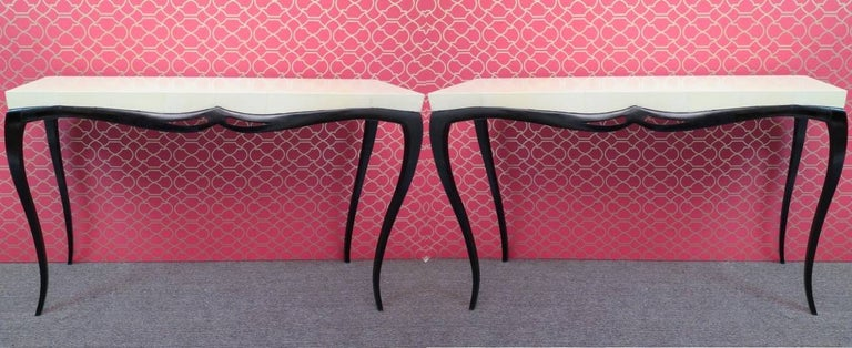 Pair of Art Deco Rectangular Wood and Goat Skin French Console Tables, 1920 For Sale 5