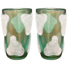 Pair of Murano Art Glass Green and White Vases, 1980