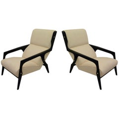 Pair of Midcentury Wood and Fabric Black and White Armchairs, 1950