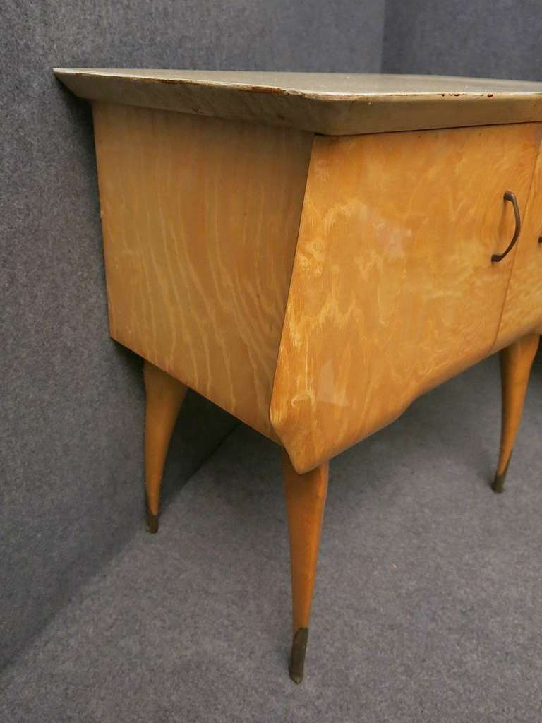 Brass Pair of Midcentury Maple and Parchment Italian Bedside Tables, 1950 For Sale
