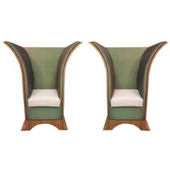 Pair of Art Deco Citronè Wood Silk and Damask Velvet French Armchairs, 1940