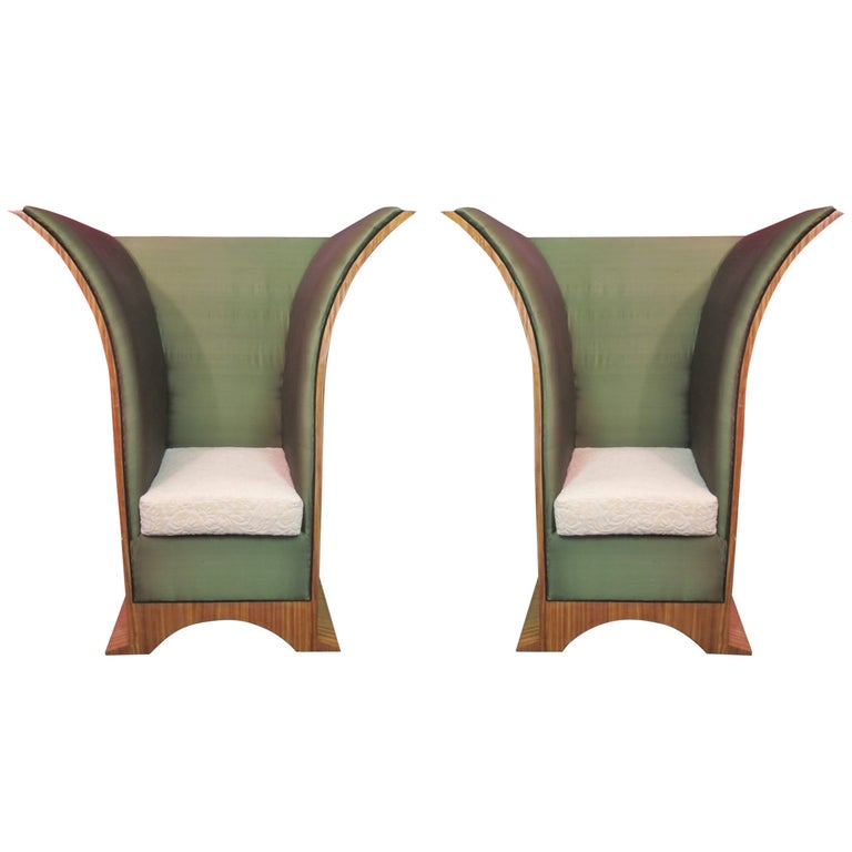 Pair of Art Deco Citronè Wood Silk and Damask Velvet French Armchairs, 1940 For Sale
