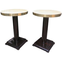 Pair of Macassar Parchment and Brass Art Deco Side Tables