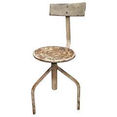 Midcentury Round Metal Italian Industrial Stool, 1960