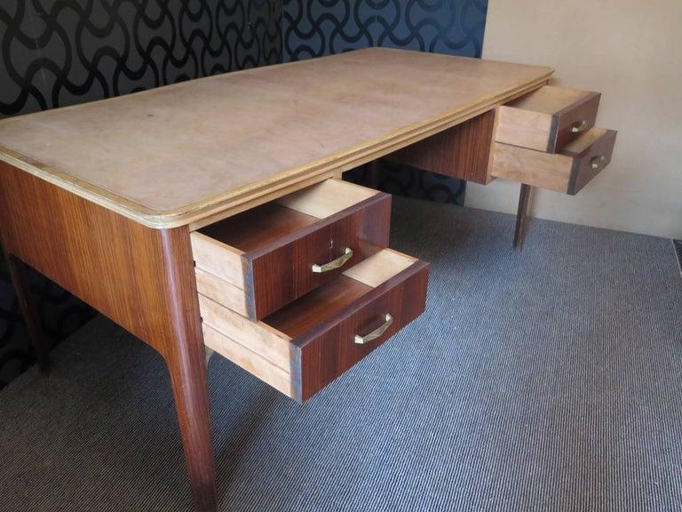 Italian Midcentury Walnut Leather Writing Desk, 1950 For Sale